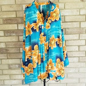 NY Collection 3X Tunic Top Floral Blouse Shirt